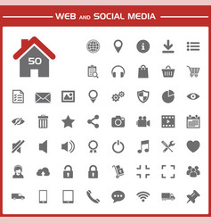 web and social media icons set vector image