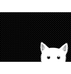 White Cat Dots Background vector image