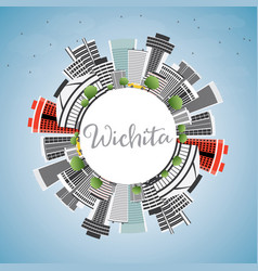 wichita skyline with gray buildings blue sky and vector image