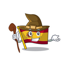 Witch flag spain isolated in cartoon vector