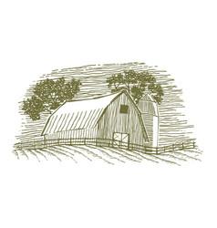 Woodcut barn and silo icon vector