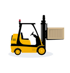 yellow vehicle forklift picks up a box vector image