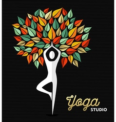 Yoga studio template silhouette and nature design vector image