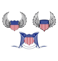 American shields with angel wings vector image