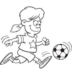 Cartoon Girl Playing Soccer vector image vector image