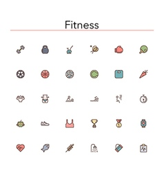 Fitness Colored Line Icons vector image vector image