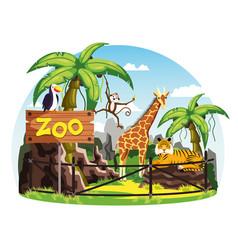giraffe and monkey tiger and toucan at zoo vector image vector image