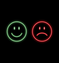neon smile emoticons vector image