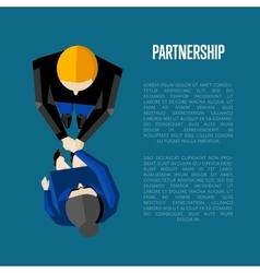 Partnership banner top view partners handshaking vector