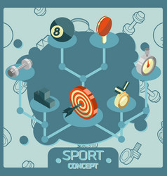 sport color isometric concept icons vector image vector image