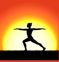 yoga virabhadraasana pose black silhouette on vector image vector image