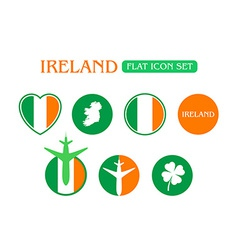 Flat Icon Set with Ireland Flag vector image