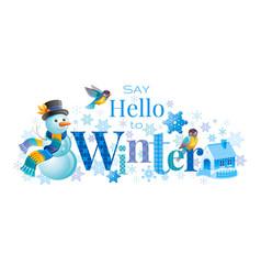 winter logo snowman winrty vector image vector image