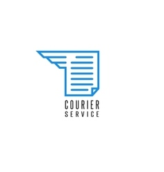 Courier service logo document file delivery blue vector image vector image