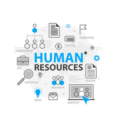 human resources web banner concept outline line vector image