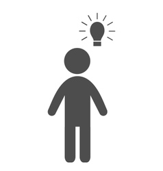 Man with idea lamp flat icon pictogram isolated on vector image vector image