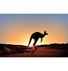 A sunset with a kangaroo vector image vector image