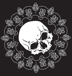 bandana design with skull and paisley ornament vector image