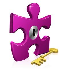 lock and key jigsaw piece vector image