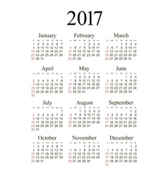 pocket 2017 year calendar vector image vector image