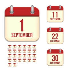 September calendar icons vector image vector image