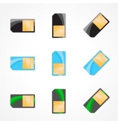 Sim card set of designer on white vector image vector image