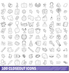 100 closeout icons set outline style vector image