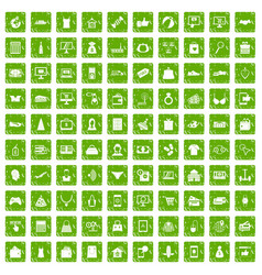 100 online shopping icons set grunge green vector image