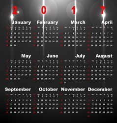 2017 calendar on night star abstract background vector image