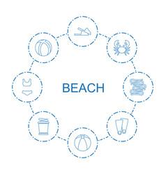 8 beach icons vector