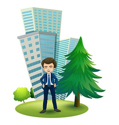 A businessman outside office vector
