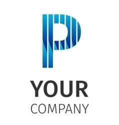 Abstract blue logo P vector