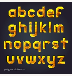 Alphabet gold color polygon style vector