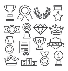 awards line icons set on white background vector image