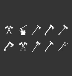 axe icon set grey vector image