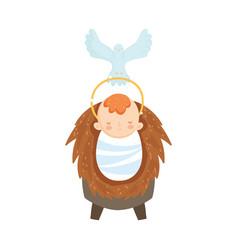 Bajesus in crib and pigeon manger nativity vector