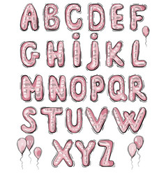 balloon lettering on white pink volumetric vector image
