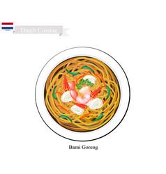 bami goreng or dutch stir fried noodles vector image vector image
