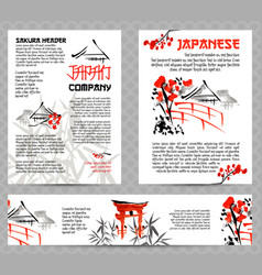 banners or posters set with asia landscapes vector image