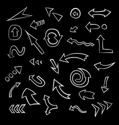 big set of hand drawn arrows collection of doodle vector image