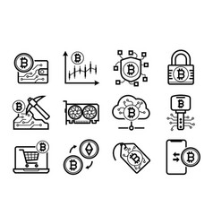 Bitcoin mining icons set in black and white vector