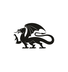 black dragon isolated heraldic animal silhouette vector image