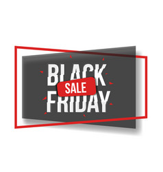 Black friday sale banner with shapes frame glitch vector