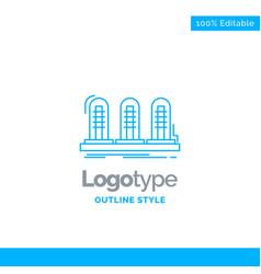 Blue logo design for amplifier analog lamp sound vector