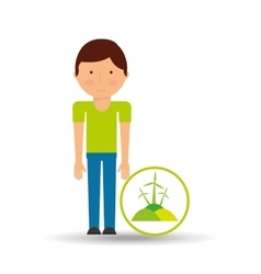 boy cartoon save earth icon eco energy vector image