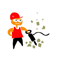 boy in red helmet works with a jackhammer vector image