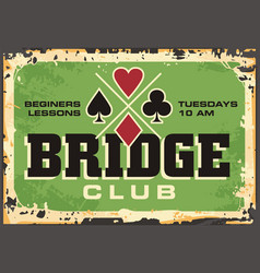 Bridge club retro sign vector