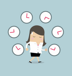 Businesswoman with many clocks vector