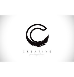C feather letter logo icon design with feather vector