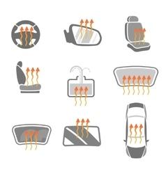 Car Heating System Set vector